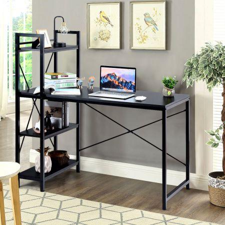 Costway Computertisch mit Regal Schreibtisch aus Holz PC Tisch mit Metallrahmen