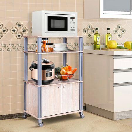 Costway Mikrowellenregal Küchenregal Standregal mit Rollen Natur 60 x 40 x 98 cm