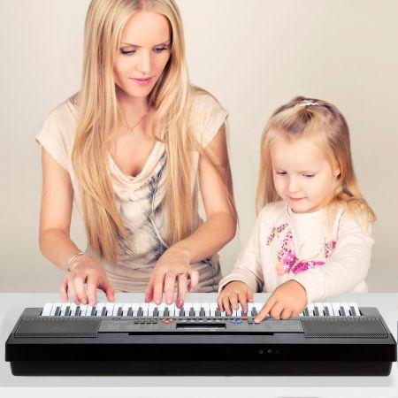 Costway 61 Tastatur Elektrisches Keyboard mit Notenständer Mikrofon Digital Piano