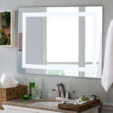 Costway LED-Spiegel Badezimmer Spiegel mit Beleuchtung Wandspiegel Quadratisch 70 x 50 x 3 cm