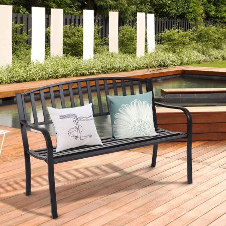 Costway Stahl-Gartenbank Terrassenbank mit Streifendesign robuster Stahlrahmen Terrassenbank