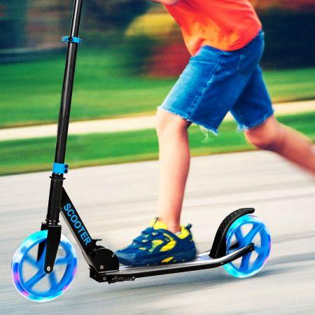 Costway Scooter Roller klappbar Tretroller höhenverstellbar 100kg Tragkraft Kickroller mit 2 LED Räder blau