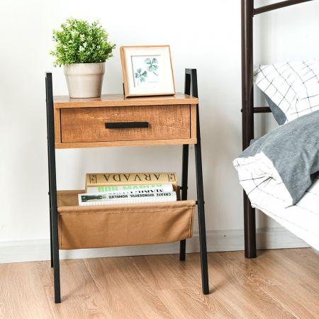 Costway Nachttisch Beistelltisch Telefontisch mit eine Schublade Holz 44 x 40 x 62 cm