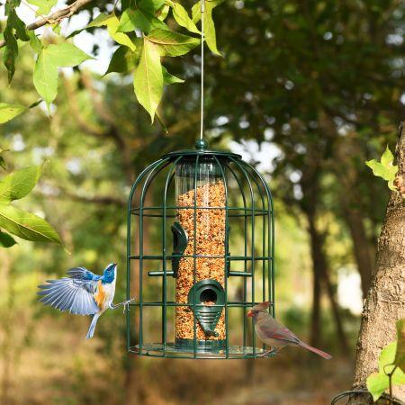 Costway Vogelfutterspender Eichhörnchensicher Futtersäule Hängende Vogelfutterstation Vogelhaus Vogelfutterspender Futterhaus