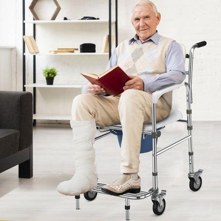 Costway Höhenverstellbarer Toilettenstuhl mit klappbarer Fußstütze Nachtstuhl Toilettenrollstuhl inkl. Eimer für Ältere Verletzte und Behinderte