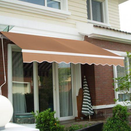 Costway 2,5 m x 2 m Terrassenmarkise Aluminiumrahmen und -kurbel Vordach für Balkon und Veranda