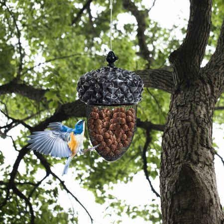 Costway Futterspender Eichel Ahorn-Form Vogelfutterstation Vogelfutterspender Futterhaus Hänger Futterstationen
