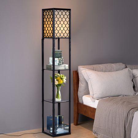 Costway 160x26x26cm Standleuchte Regal Moderne Innenbeleuchtung mit 3-Ebenen Bodenlampe