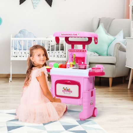 Costway 2 in 1 Küchen-Spielzeug-Trolley Küchen-Spielzeug-Set höhenverstellbar Kinder Rollenspiel Spielzeug Rosa