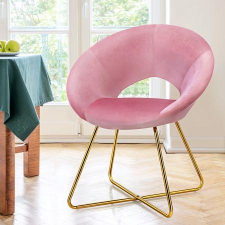 Costway Polstersessel mit Metallbeinen Schminktisch Stuhl bis 120kg belastbar Wohnzimmerstuhl Rosa