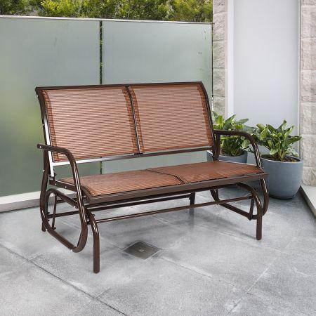 Costway Outdoor-Gartenbank Gemütliche Schaukelbank für 2 Personen Schwingsessel Metallrahmen Braun
