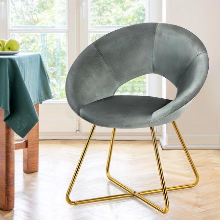 Costway Polstersessel mit Metallbeinen Schminktisch Stuhl bis 120kg belastbar Wohnzimmerstuhl Grau