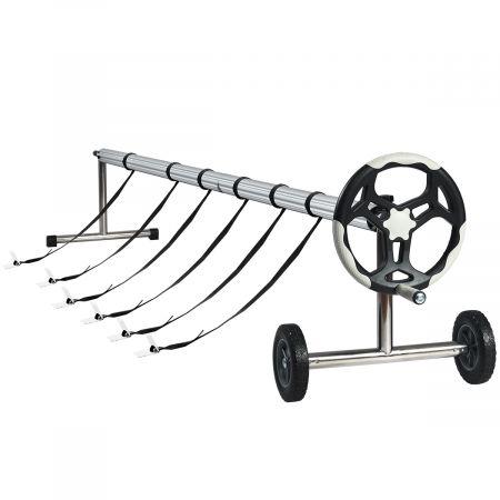 Costway 6,4 m Poolabdeckungs-Set mit Handkurbel und Rädern Pool Aufroller aus Aluminium Silber