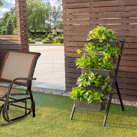 Costway 5-Etagen-Hochbeet Pflanzenständer Freistehende Pflanzenleiter 57 x 68,5  x 114 cm Grau