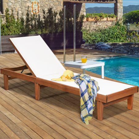 Costway Sonnenliege Gartenliege aus Holz Terrassenliege mit verstellbarer Lehne 200 x 61 x 31,5 cm Natur + Weiß