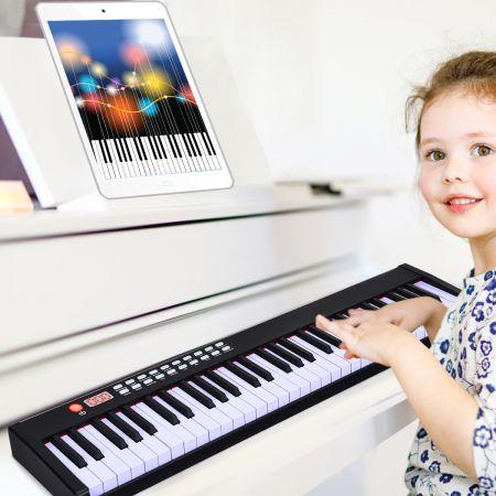 Costway 61 gewichtete Tastatur digitale Keyboard elektrisches Klavier 90 x 21 x 6 cm Schwarz