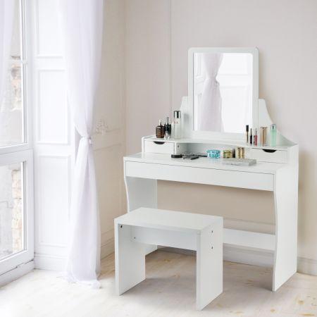 Costway Schminktisch 3 Schubladen Make-up Tisch Frisiertisch mit Spiegel und Hocker Weiß 108 x 39 x 148 cm