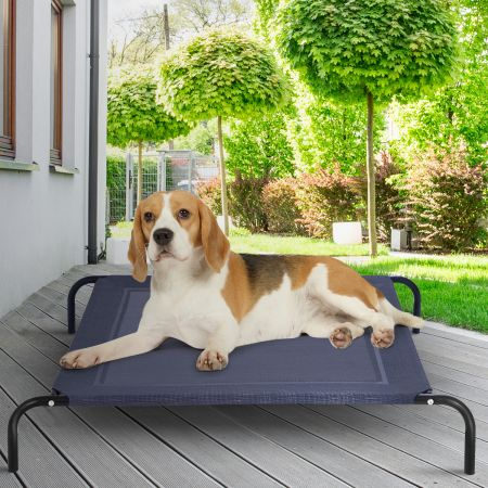 Costway Hundebett Garten Hundeliege Liegeplatz draußen Hundesofa Grau 110 x 80 x 18 cm Metall