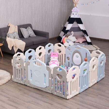 Costway Laufgitter Baby Laufstall Kinder Schutzgitter Absperrgitter mit Tür inkl. 12 kleine Paneele