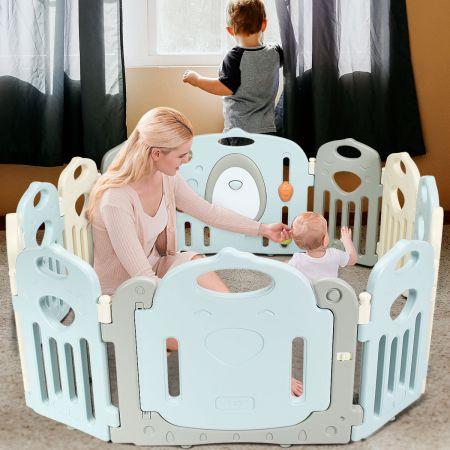 Costway Laufgitter Baby Laufstall Kinder Schutzgitter Absperrgitter mit Tür inkl. 10 kleiner Paneele