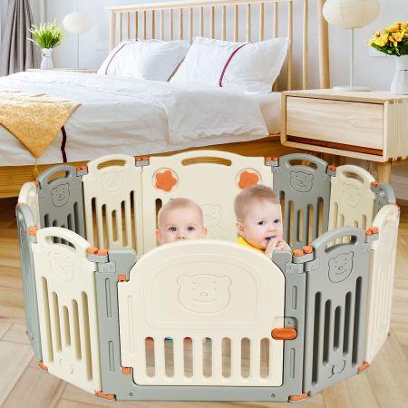 Costway Laufgitter Baby Laufstall Kinder Schutzgitter Absperrgitter mit Tür Beige und Grau