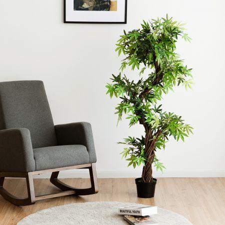 Costway Kunstpflanze Künstliche Deko-Pflanze Zimmerpflanze mit Echtholzstamm Grün 160 x 19 x 19 cm