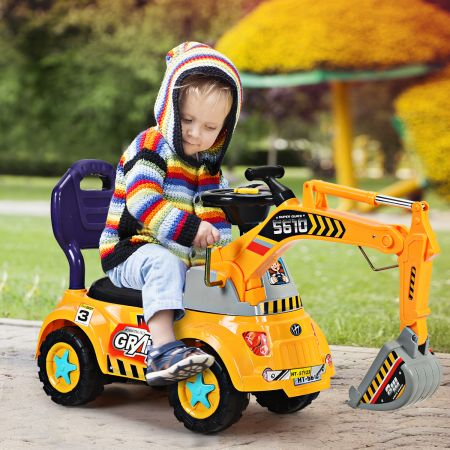 Costway Kleinkinder Sitzbagger Kinderbagger Sandbagger mit zwei Schaufeln Gelb 103 x 29 x 46,5 cm