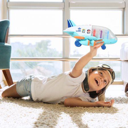 Costway Kinder Flugzeug Passagierflugzeug Spiel-Flugzeug mit Licht und Musik Blau 31 x 36 x 16 cm