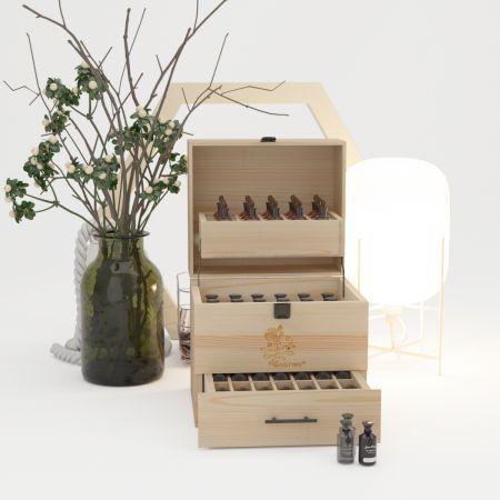 3 Etagen Ätherisches Öl Organizer 59 Fächer Ätherische Öl-Box Aufbewahrungsbox mit Schublade Holz