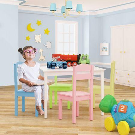 Costway 5 tlg. Kindersitzgruppe Kindertischgruppe Kindertisch mit 4 Stühlen Kiefer Farbig und Weiß