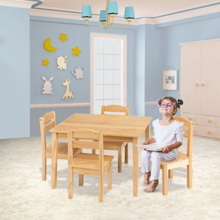 Costway 5 tlg. Kindersitzgruppe Kindertischgruppe Kindertisch mit 4 Stühlen Kiefer Natur