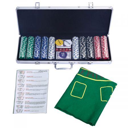 Pokerset Pokerkoffer 500 Laser-Chips Alukoffer Alu Pokerkoffer + Tuch + 2 Pokerdecks