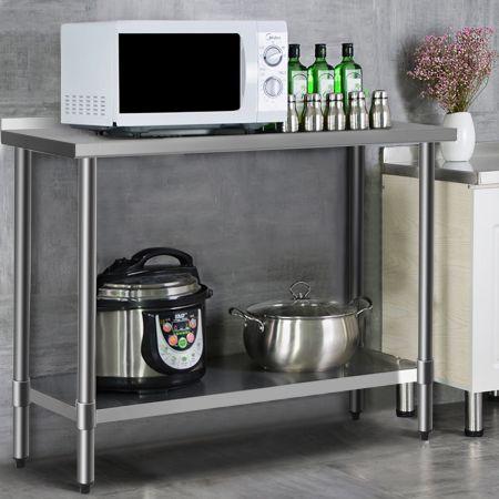 Costway Arbeitstisch Edelstahltisch Küchentisch mit Arbeitsplatte Edelstahl Silber 122 x 61 x 90 cm