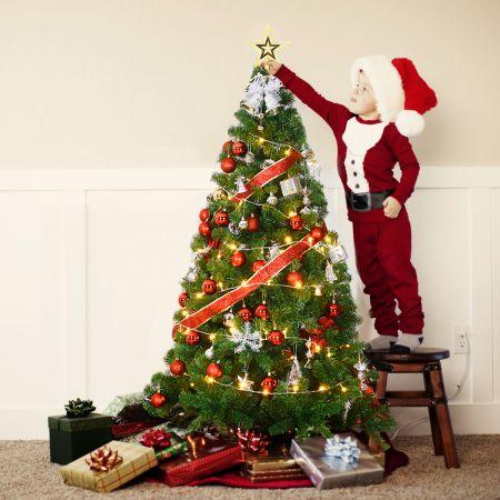 Costway Weihnachtsbaum Künstlicher Tannenbaum Christbaum mit Metallständer 150-240 cm Grün