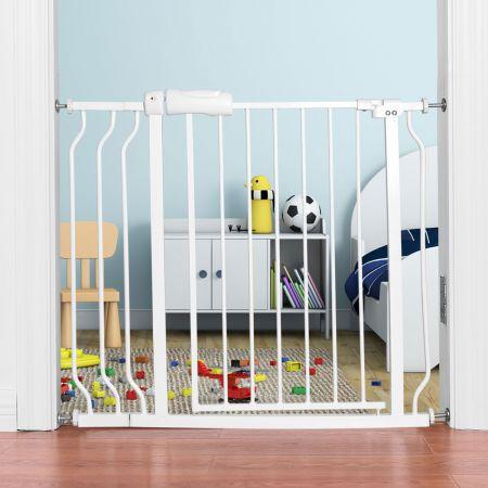 Costway Treppenschutzgitter Babygitter Schutzgitter ohne Bohren  erweiterbar von 74-98cm Weiß