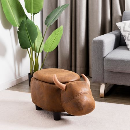Costway Tierhocker für Kinder Wasserbüffel-Design Kinder Sitzhocker mit Stauraum und Deckel