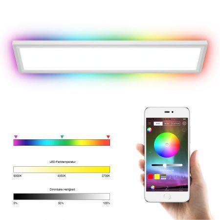 LED-Deckenleuchte RGB-Lichtpaneel mit App-Steuerung Bluetooth Lichtwechsel mit Fernbedienung bunt und dimmbar 18W 1300 Lumen 196 Leuchtmittel