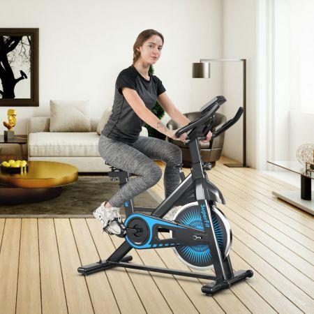 Costway Indoor Fahrrad mit 6KG Schwungrad Heimtrainer Fitnessbike bis 120KG belastbar Blau