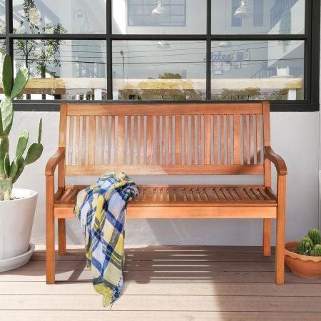 Gartenbank aus Holz Solide Gartenbank für 2 Personen mit kurviger Rückenlehne & weiten Armlehnen 126 x 63 x 91 cm
