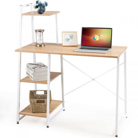 Costway Computertisch mit 4 Regal Schreibtisch Holz Metall PC Tisch Bürotisch Arbeitstisch Officetisch fürs Büro
