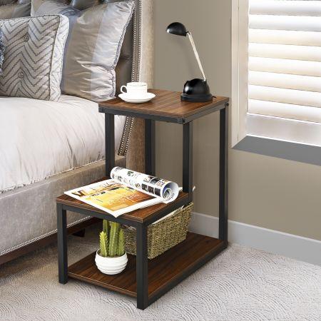 Costway 3 Ebenen Beistelltisch Nachtisch Vintage Sofatisch Kaffeetisch Telefontisch Nachtkommode