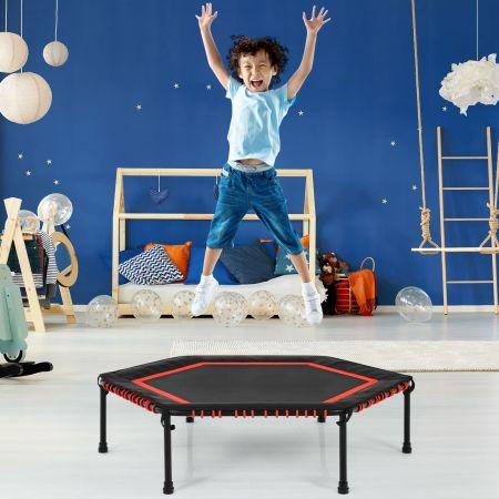 Costway Sechseckiges 126 cm Fitness-Trampolin Fitness Trampolin Kindertrampolin Jumping-Workout Rot