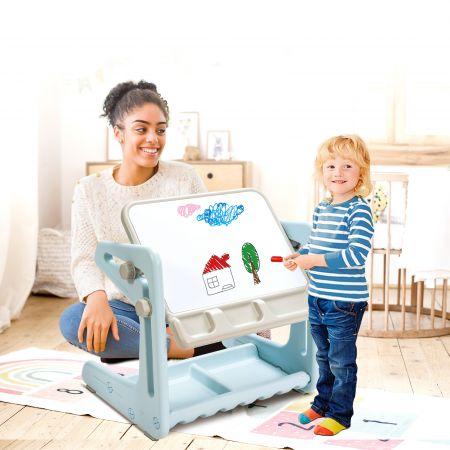 Costway 2 in 1 Magnetische Maltafel Kinderschreibtisch mit höhen- und neigungsverstellbarer Tischplatte Blau