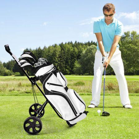 Costway 2-Rad Golftrolley klappbar Golfwagen mit Anzeigetafel Golf Push Cart Golfcaddy Schwarz