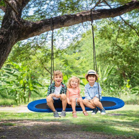 Costway Ovale Schaukel Baumschaukel Blau mit 100-160cm verstellbarer Höhe & mehrlagigem Seil für Kinder & Erwachsene Blau