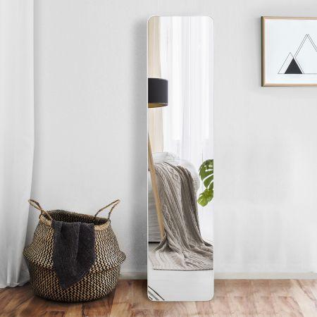 Costway 2 in 1 Ganzkörperspiegel Standspiegel und Wandspiegel 160 x 37 cm Weiß