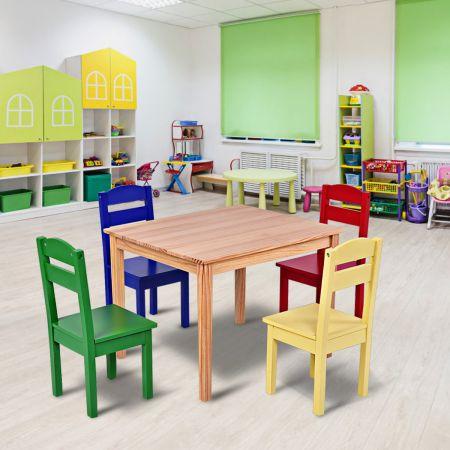 Costway 5 tlg. Kindersitzgruppe Kindertischgruppe Kindertisch mit 4 Stühlen Kiefer Farbig und Natur