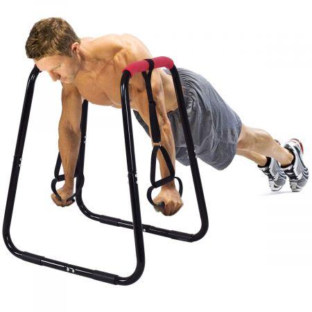 Costway Sports Dip Station Fitness Parallettes Barren Einstellbarer Dip Stand 83 x 69 x 95 cm Schwarz