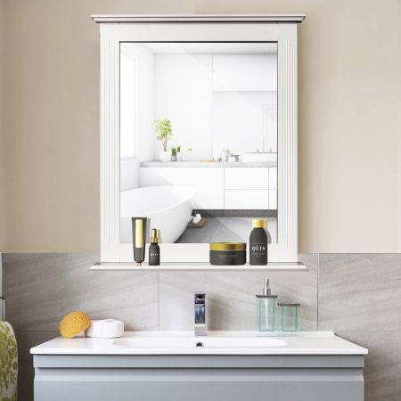 Costway Badezimmerspiegel Rechteckiger Badspiegel Wandspiegel mit Ablage Weiß 57 x 12 x 68,5 cm
