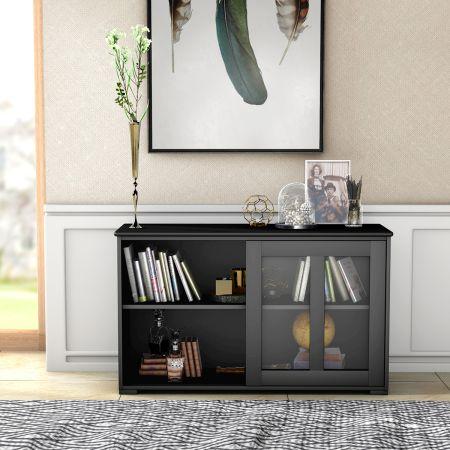 Costway Sideboard Küchenschrank Wohnzimmerregel mit Schiebetüren Schwarz 106,5 x 33 x 62,5 cm